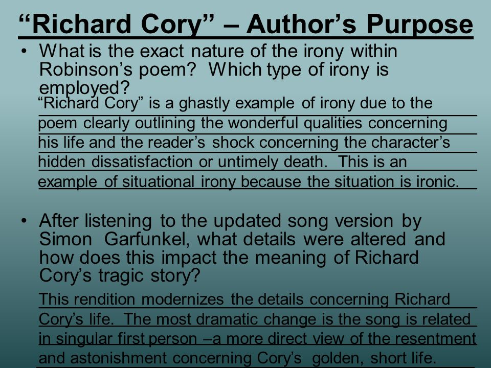 "literary device irony there are various forms of irony irony can  5 ""richard"