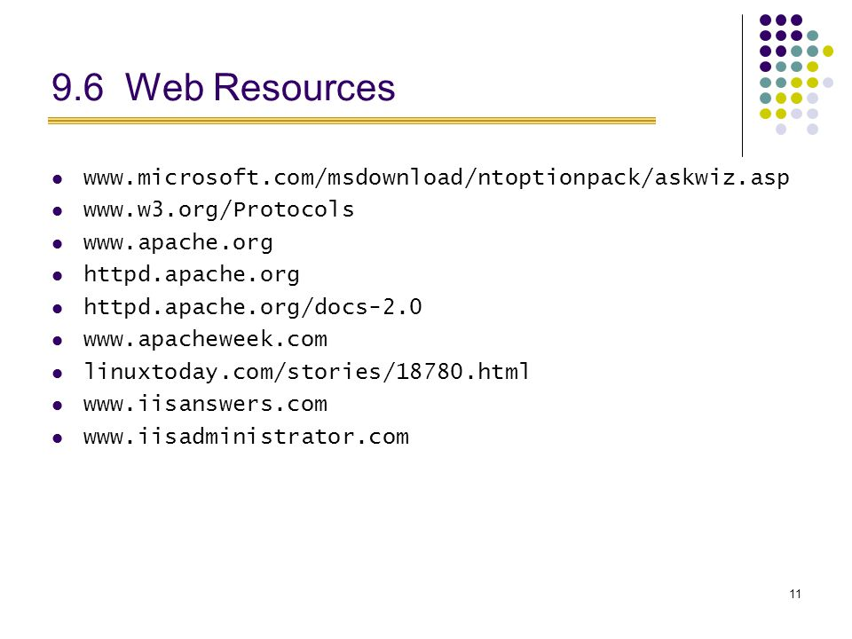 Web Resources httpd.apache.org httpd.apache.org/docs linuxtoday.com/stories/18780.html