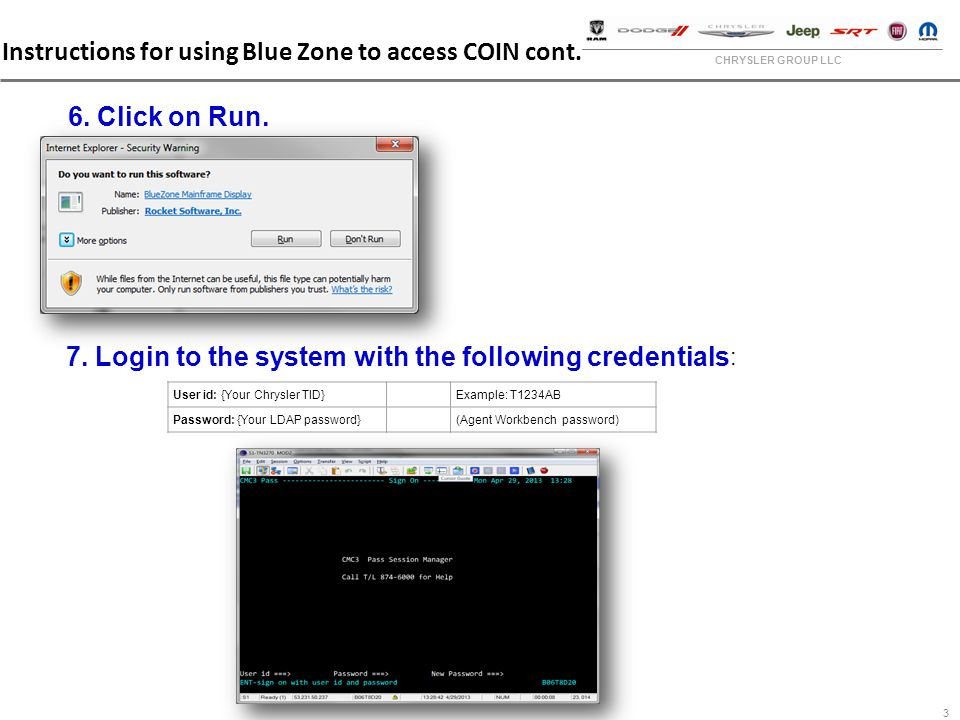 COIN Accessed Through Bluezone Training New WebCOIN System For - Chrysler dashboardanywhere