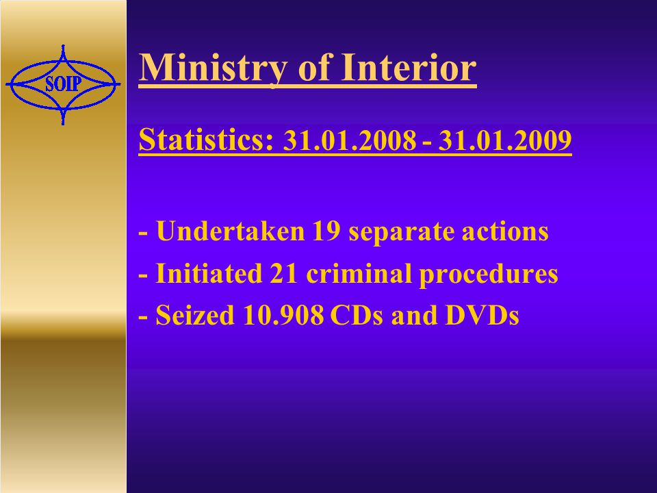 Ministry of Interior Statistics: Undertaken 19 separate actions - Initiated 21 criminal procedures - Seized CDs and DVDs