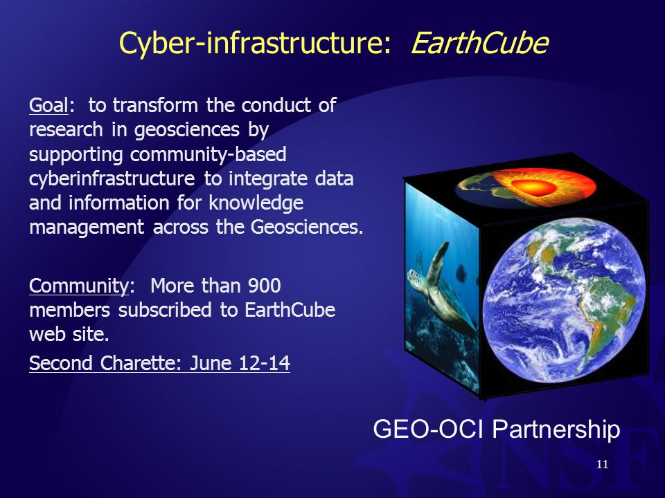 Cyber-infrastructure: EarthCube Goal: to transform the conduct of research in geosciences by supporting community-based cyberinfrastructure to integrate data and information for knowledge management across the Geosciences.