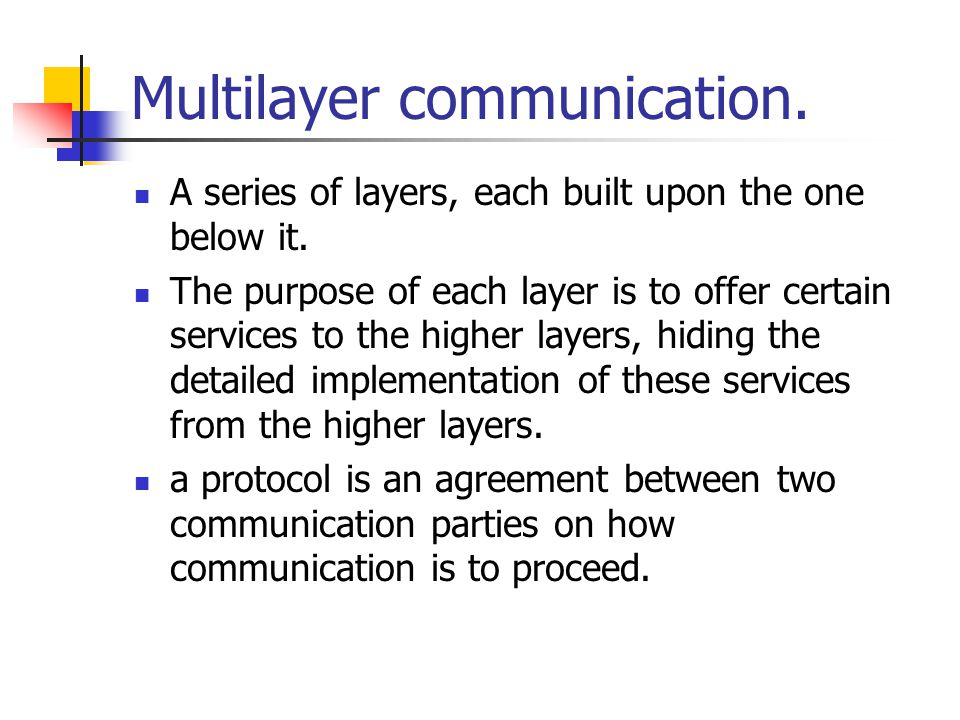 Multilayer communication. A series of layers, each built upon the one below it.