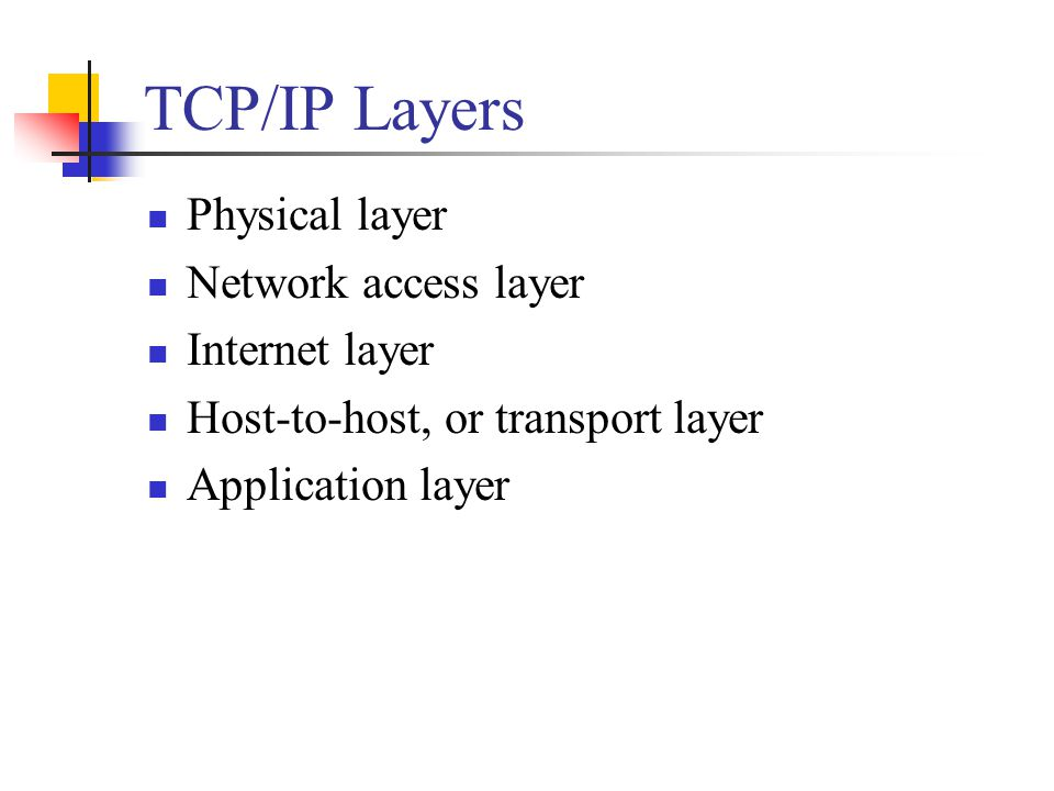 TCP/IP Layers Physical layer Network access layer Internet layer Host-to-host, or transport layer Application layer