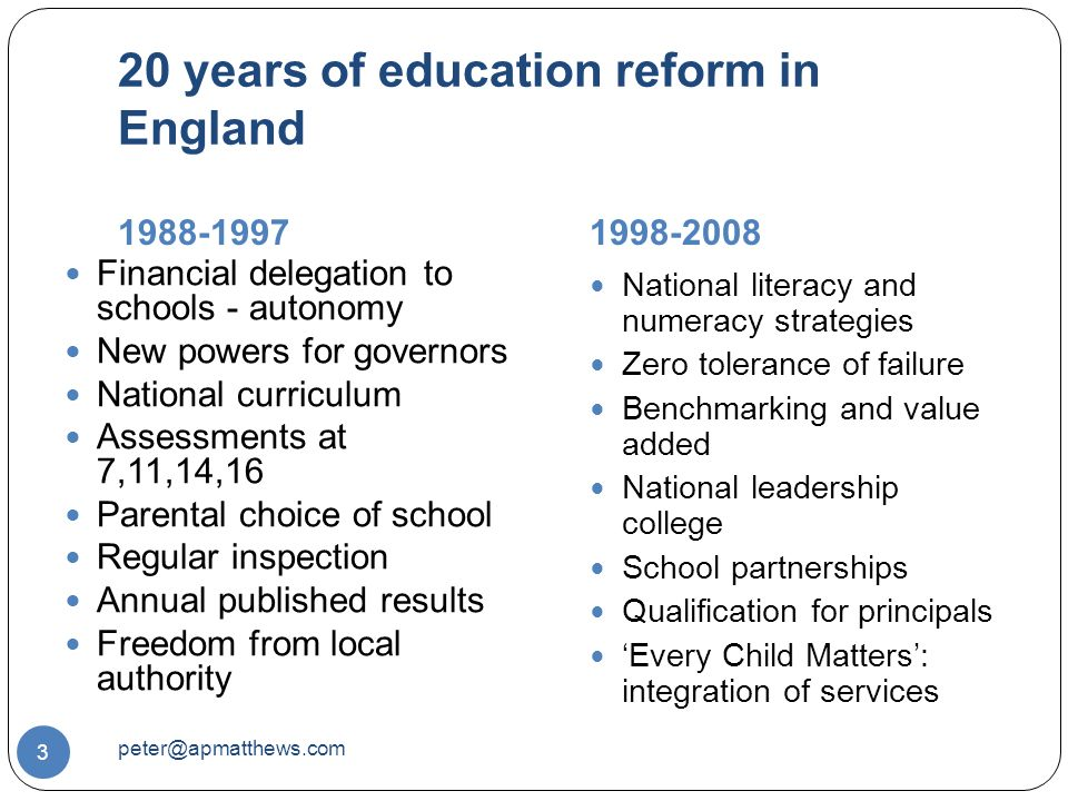 20 years of education reform in England Financial delegation to schools - autonomy New powers for governors National curriculum Assessments at 7,11,14,16 Parental choice of school Regular inspection Annual published results Freedom from local authority National literacy and numeracy strategies Zero tolerance of failure Benchmarking and value added National leadership college School partnerships Qualification for principals 'Every Child Matters': integration of services