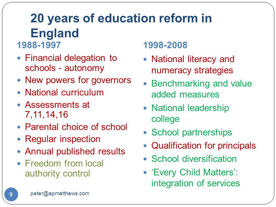20 years of education reform in England Financial delegation to schools - autonomy New powers for governors National curriculum Assessments at 7,11,14,16 Parental choice of school Regular inspection Annual published results Freedom from local authority control National literacy and numeracy strategies Benchmarking and value added measures National leadership college School partnerships Qualification for principals School diversification 'Every Child Matters': integration of services
