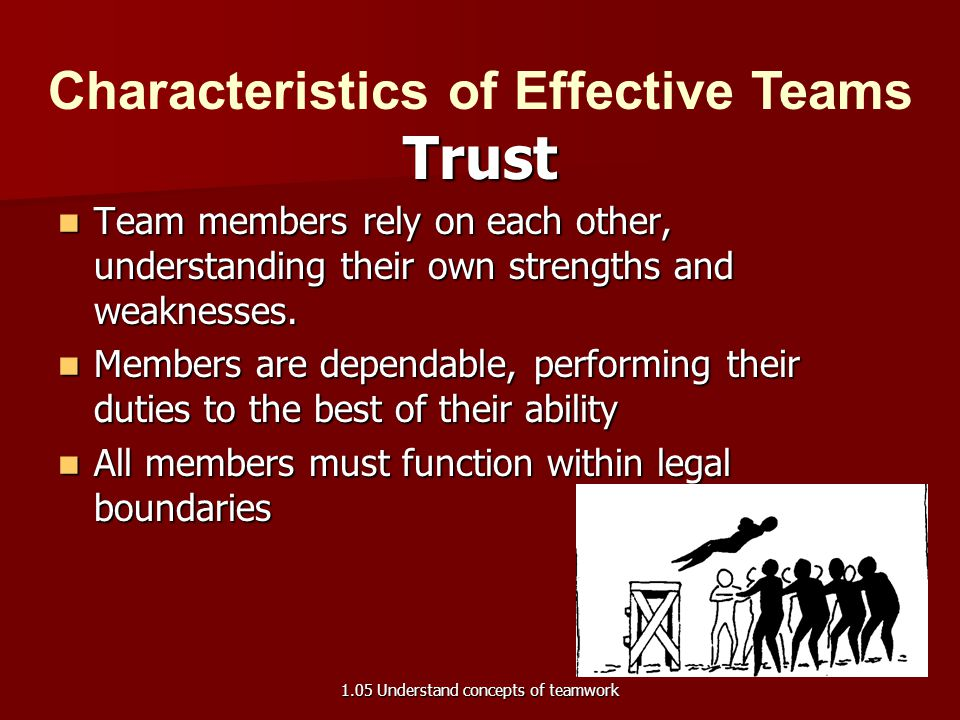 Reliability, dependability Trust Characteristics of Effective Teams 1.05 Understand concepts of teamwork