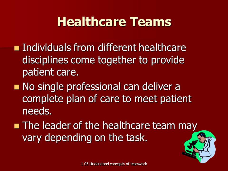 1.05 Effective Healthcare Teams 1.05 Understand concepts of teamwork
