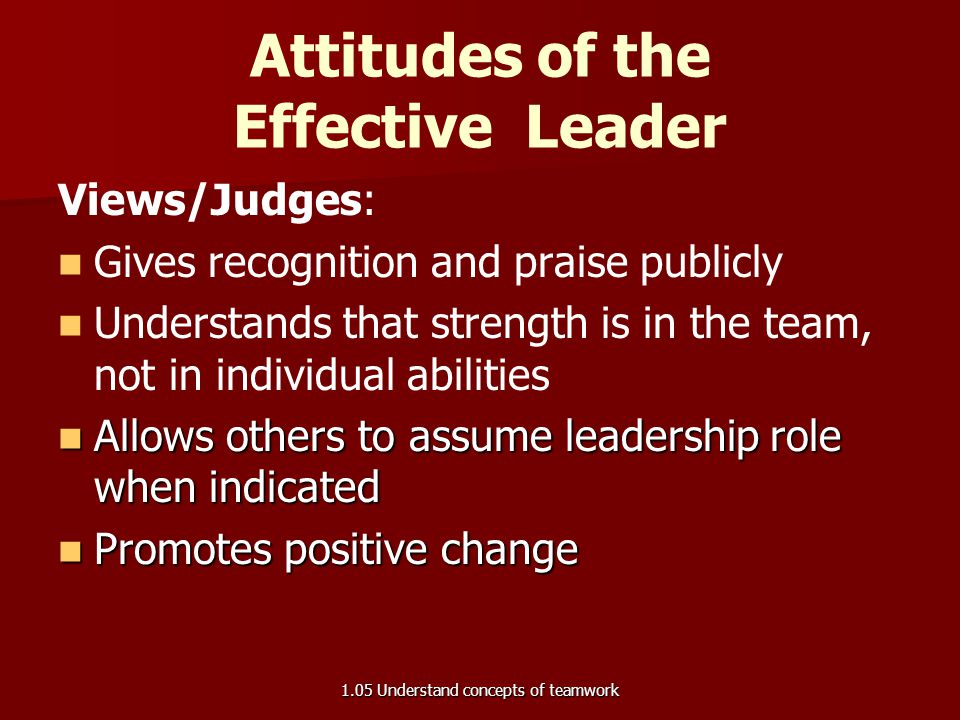 Qualities:   Demanding yet personable   Controlling yet flexible   Communicates openly and directly   Loyal to the team   Trusted   Respec