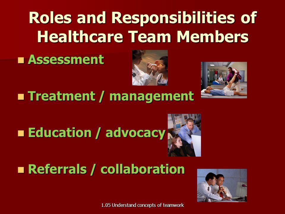Healthcare Team Members Healthcare team member differences: Healthcare team member differences: –backgrounds –education levels –interests –skills –car