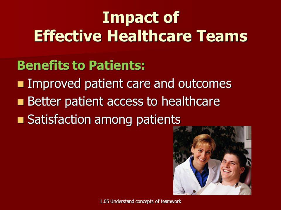 Characteristics of Effective Healthcare Teams Set clear patient goals with measureable outcomes Set clear patient goals with measureable outcomes Comp