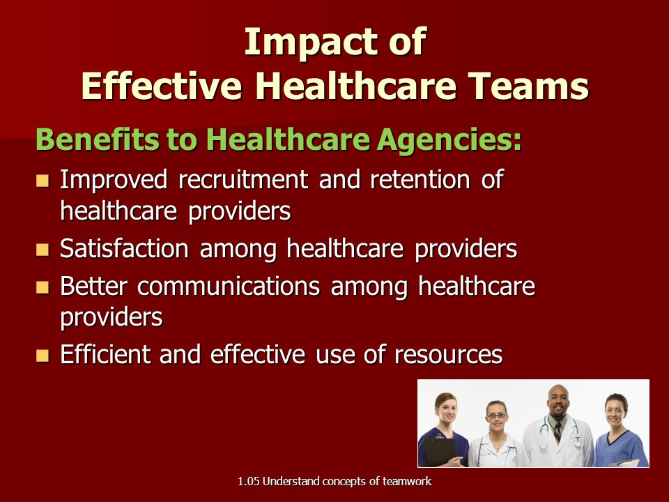 Impact of Effective Healthcare Teams Benefits to Patients: Improved patient care and outcomes Improved patient care and outcomes Better patient access