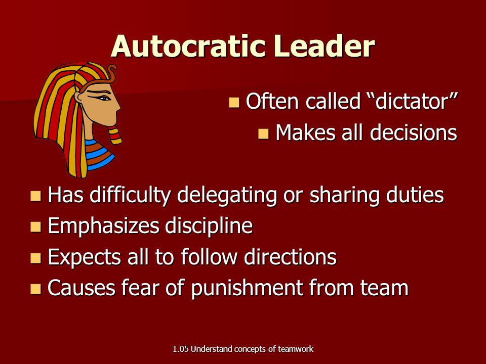 Leadership styles 1.05 Understand concepts of teamwork