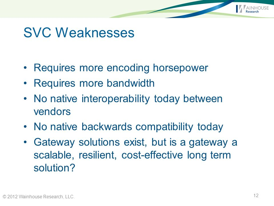 SVC Weaknesses Requires more encoding horsepower Requires more bandwidth No native interoperability today between vendors No native backwards compatibility today Gateway solutions exist, but is a gateway a scalable, resilient, cost-effective long term solution.