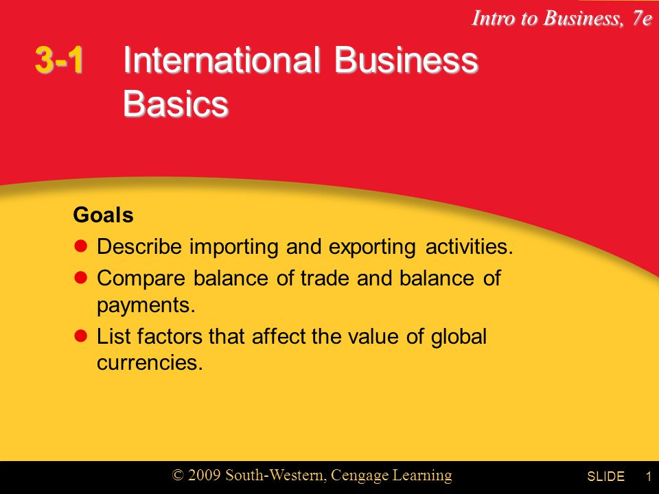 Intro to Business, 7e © 2009 South-Western, Cengage Learning SLIDE1 International Business Basics Goals Describe importing and exporting activities.