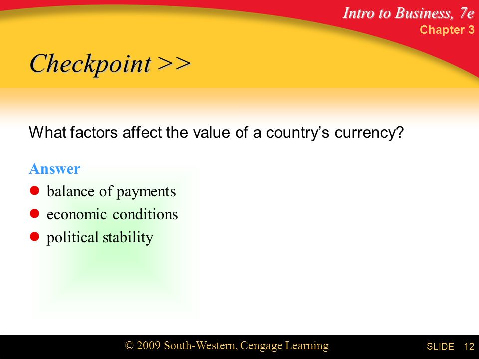 Intro to Business, 7e © 2009 South-Western, Cengage Learning SLIDE Chapter 3 12 Checkpoint >> What factors affect the value of a country's currency.