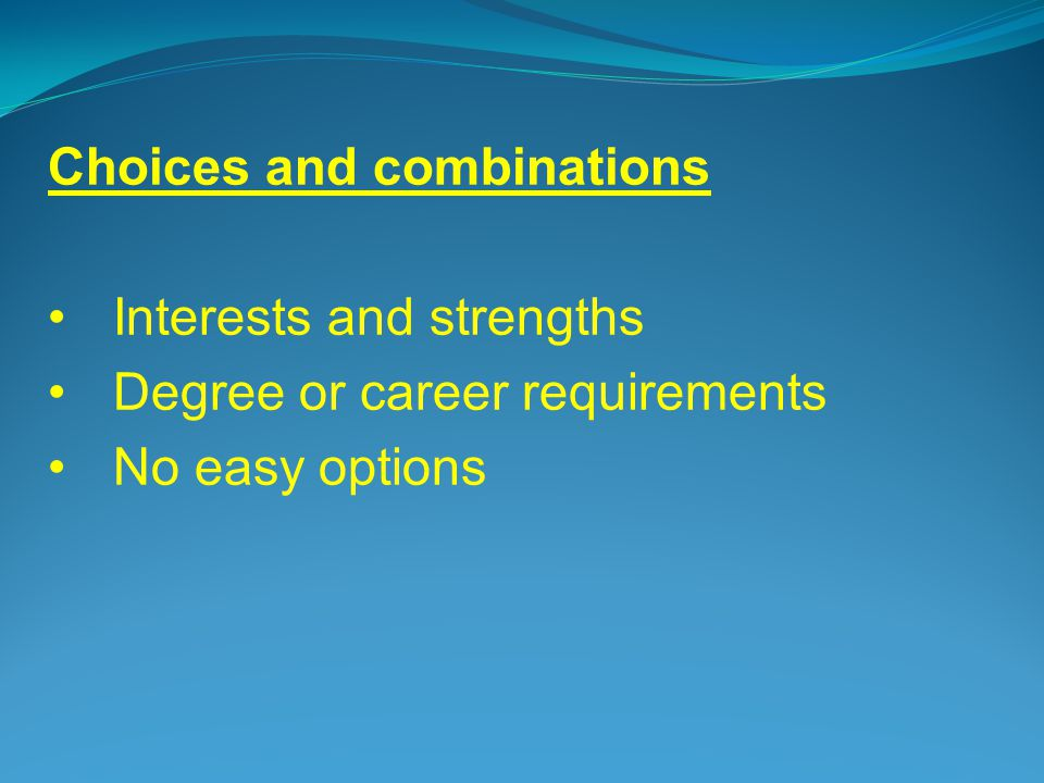 Choices and combinations Interests and strengths Degree or career requirements No easy options