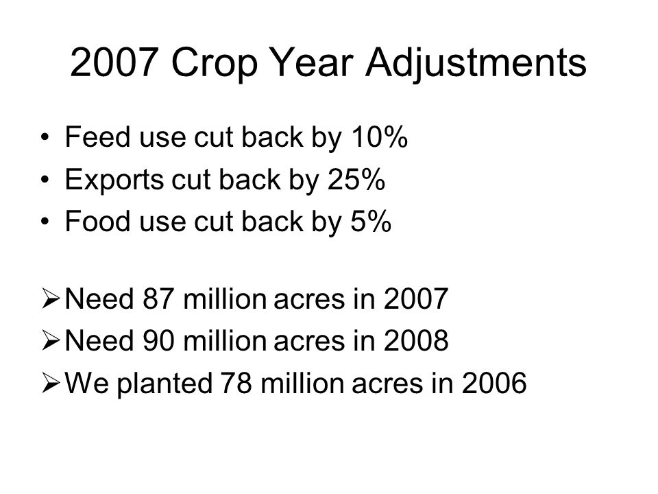 2007 Crop Year Adjustments Feed use cut back by 10% Exports cut back by 25% Food use cut back by 5%  Need 87 million acres in 2007  Need 90 million acres in 2008  We planted 78 million acres in 2006
