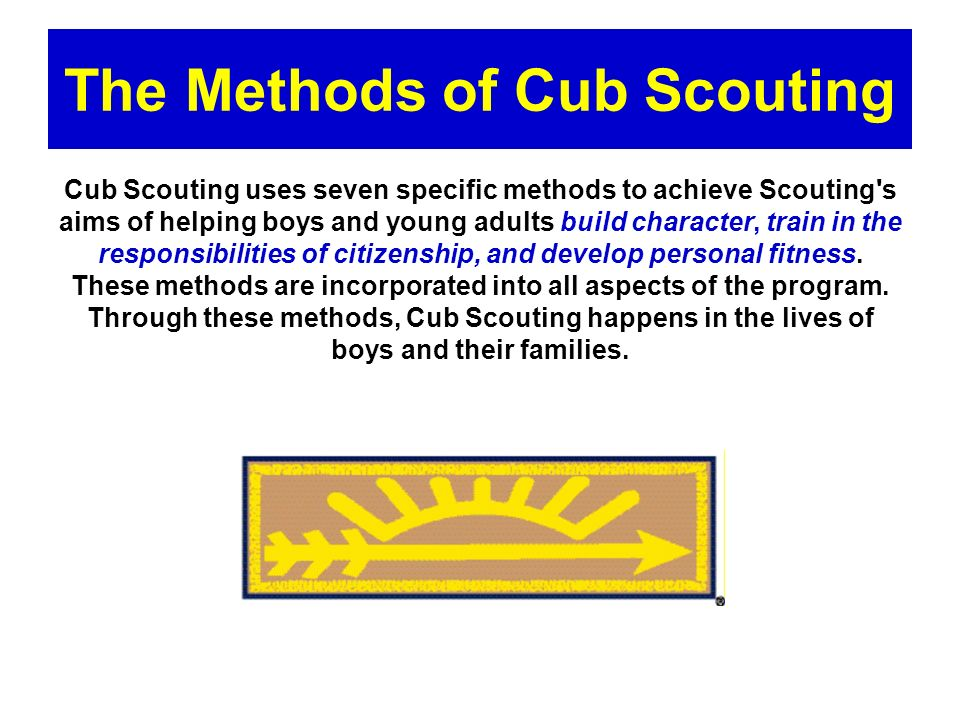 Purposes and Methods of Cub Scouting Cub Scouting is a year-round family-oriented part of the BSA program designed for boys who are in 1 st – 5 th grades (or are years of age).
