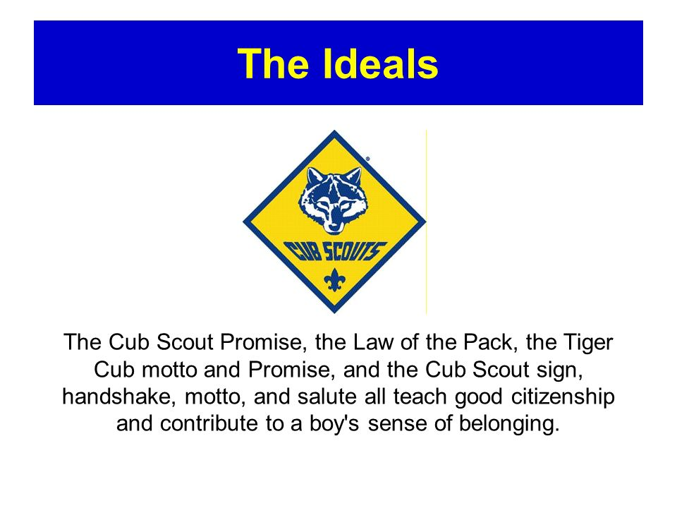 The Methods of Cub Scouting Cub Scouting uses seven specific methods to achieve Scouting s aims of helping boys and young adults build character, train in the responsibilities of citizenship, and develop personal fitness.