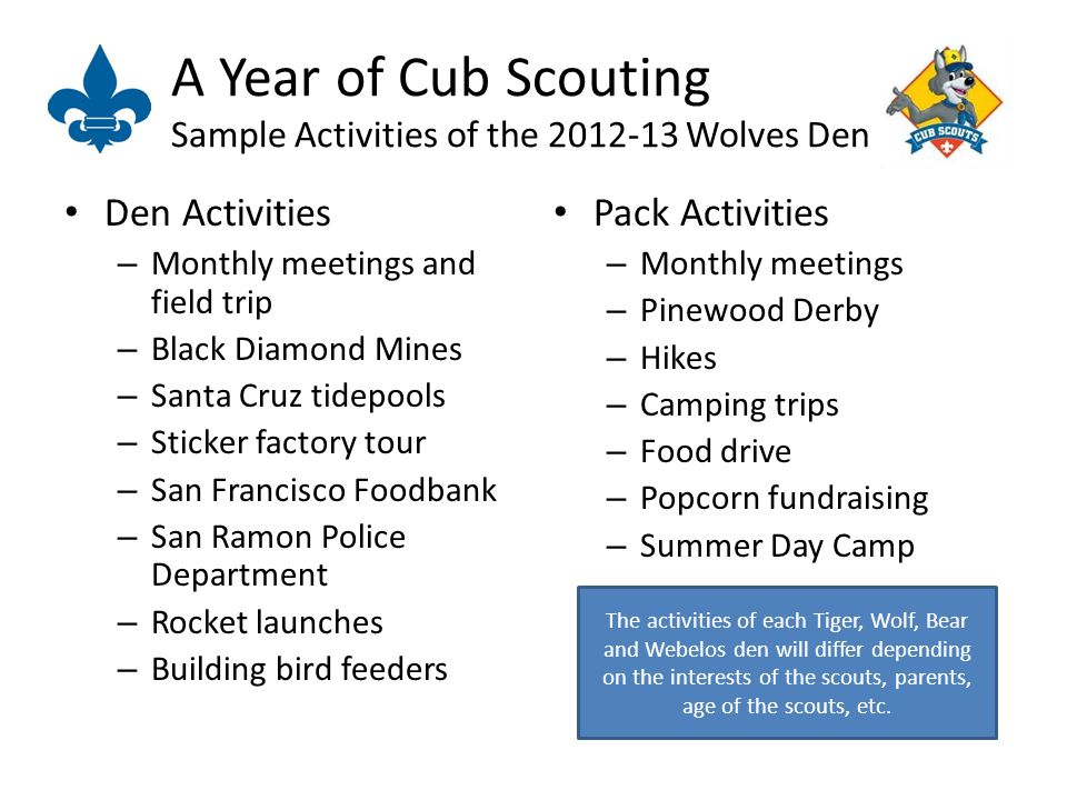 A Year of Cub Scouting Sample Activities of the Wolves Den Den Activities – Monthly meetings and field trip – Black Diamond Mines – Santa Cruz tidepools – Sticker factory tour – San Francisco Foodbank – San Ramon Police Department – Rocket launches – Building bird feeders Pack Activities – Monthly meetings – Pinewood Derby – Hikes – Camping trips – Food drive – Popcorn fundraising – Summer Day Camp The activities of each Tiger, Wolf, Bear and Webelos den will differ depending on the interests of the scouts, parents, age of the scouts, etc.