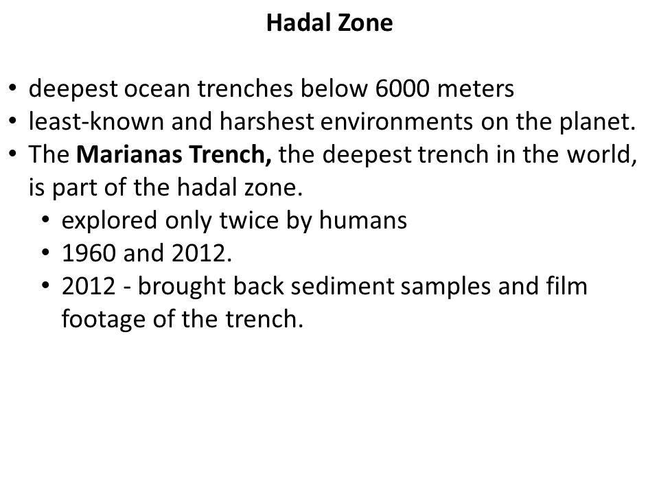 Hadal Zone deepest ocean trenches below 6000 meters least-known and harshest environments on the planet.