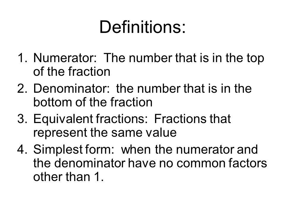 Simplifying Fractions. October 1, 2012 Standard: 6.NS.1. Interpret ...