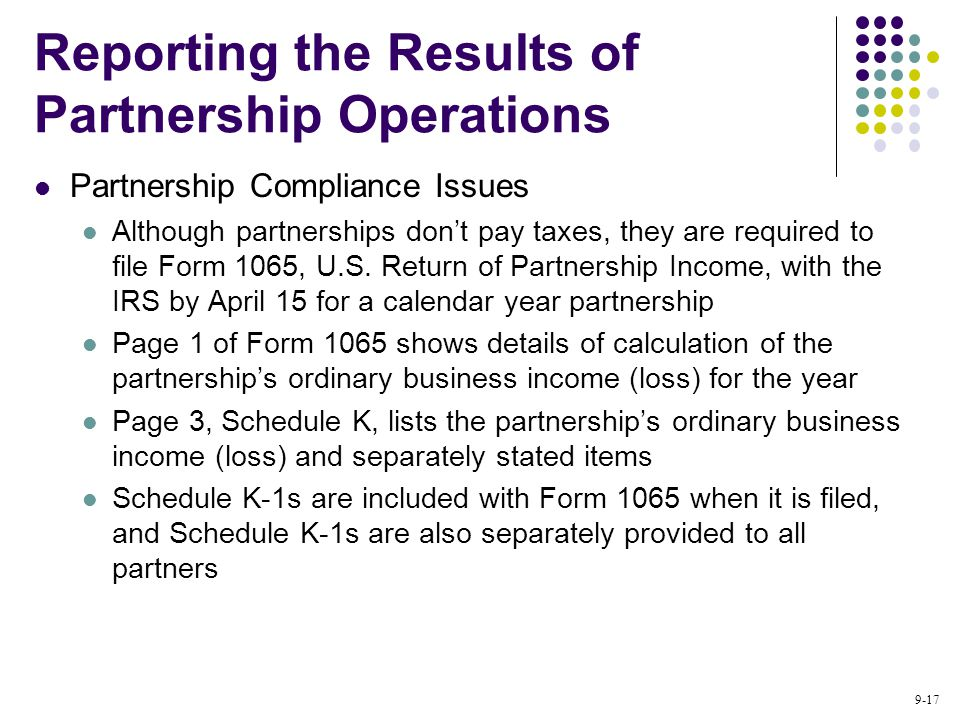 9-17 Partnership Compliance Issues Although partnerships don't pay taxes, they are required to file Form 1065, U.S.