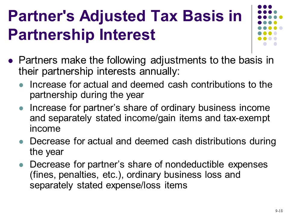 9-18 Partner s Adjusted Tax Basis in Partnership Interest Partners make the following adjustments to the basis in their partnership interests annually: Increase for actual and deemed cash contributions to the partnership during the year Increase for partner's share of ordinary business income and separately stated income/gain items and tax-exempt income Decrease for actual and deemed cash distributions during the year Decrease for partner's share of nondeductible expenses (fines, penalties, etc.), ordinary business loss and separately stated expense/loss items