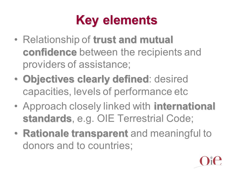 Key elements trust and mutual confidenceRelationship of trust and mutual confidence between the recipients and providers of assistance; Objectives clearly definedObjectives clearly defined: desired capacities, levels of performance etc international standardsApproach closely linked with international standards, e.g.