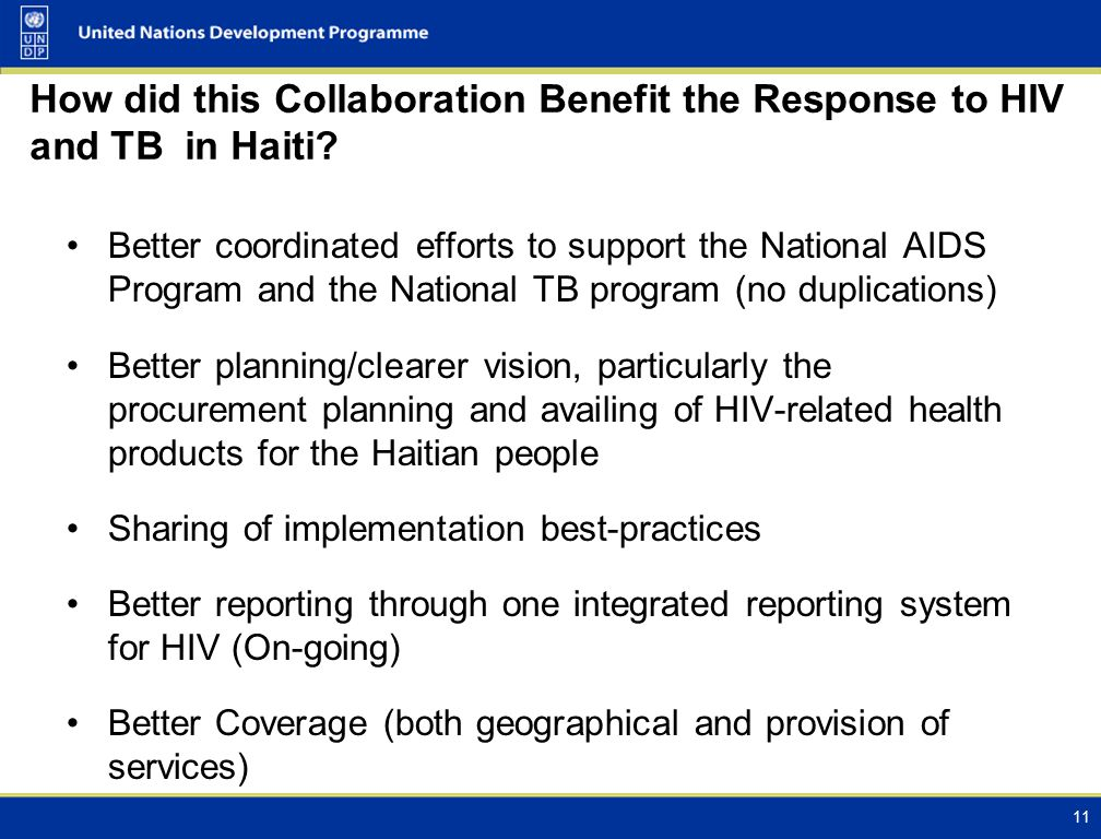 How did this Collaboration Benefit the Response to HIV and TB in Haiti.