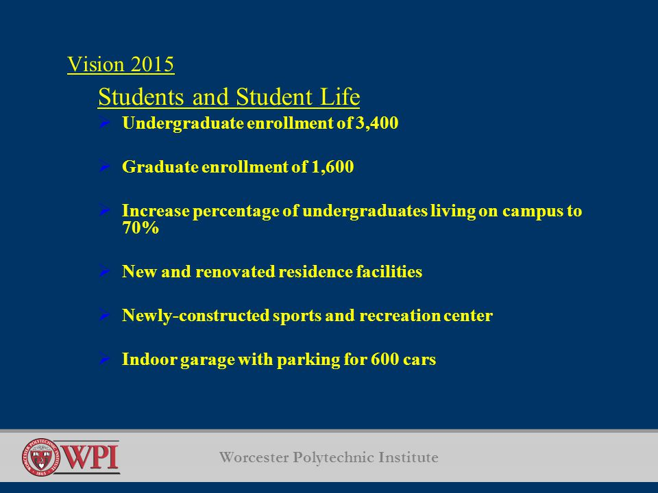 Worcester Polytechnic Institute Vision 2015 Students and Student Life  Undergraduate enrollment of 3,400  Graduate enrollment of 1,600  Increase percentage of undergraduates living on campus to 70%  New and renovated residence facilities  Newly-constructed sports and recreation center  Indoor garage with parking for 600 cars