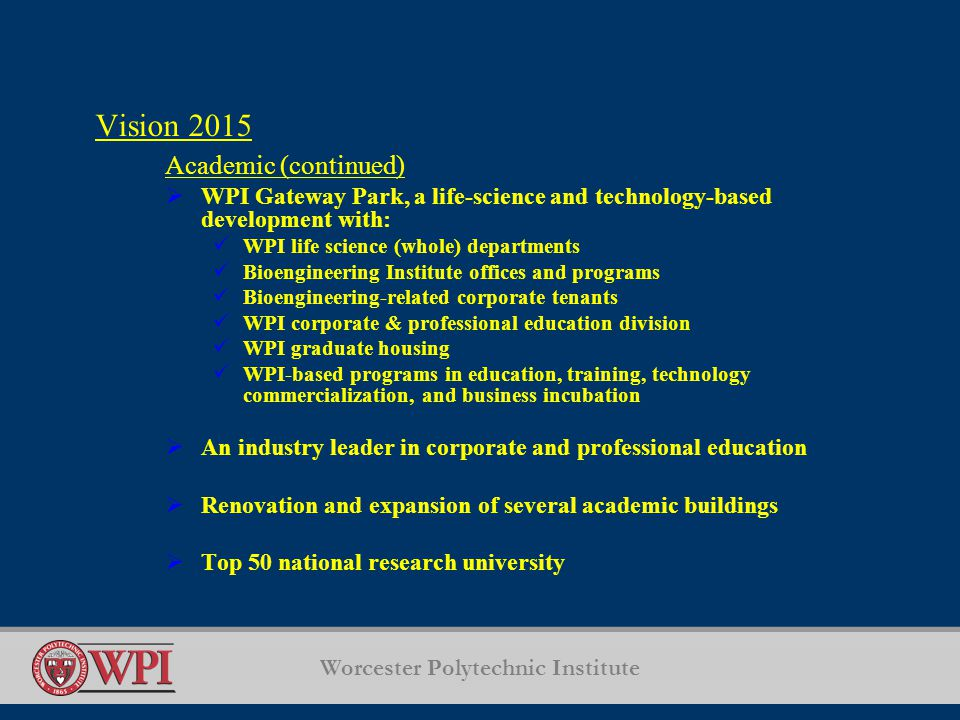 Worcester Polytechnic Institute Vision 2015 Academic (continued)  WPI Gateway Park, a life-science and technology-based development with: WPI life science (whole) departments Bioengineering Institute offices and programs Bioengineering-related corporate tenants WPI corporate & professional education division WPI graduate housing WPI-based programs in education, training, technology commercialization, and business incubation  An industry leader in corporate and professional education  Renovation and expansion of several academic buildings  Top 50 national research university