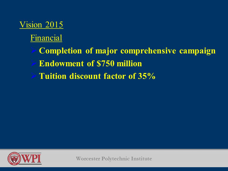 Worcester Polytechnic Institute Vision 2015 Financial  Completion of major comprehensive campaign  Endowment of $750 million  Tuition discount factor of 35%