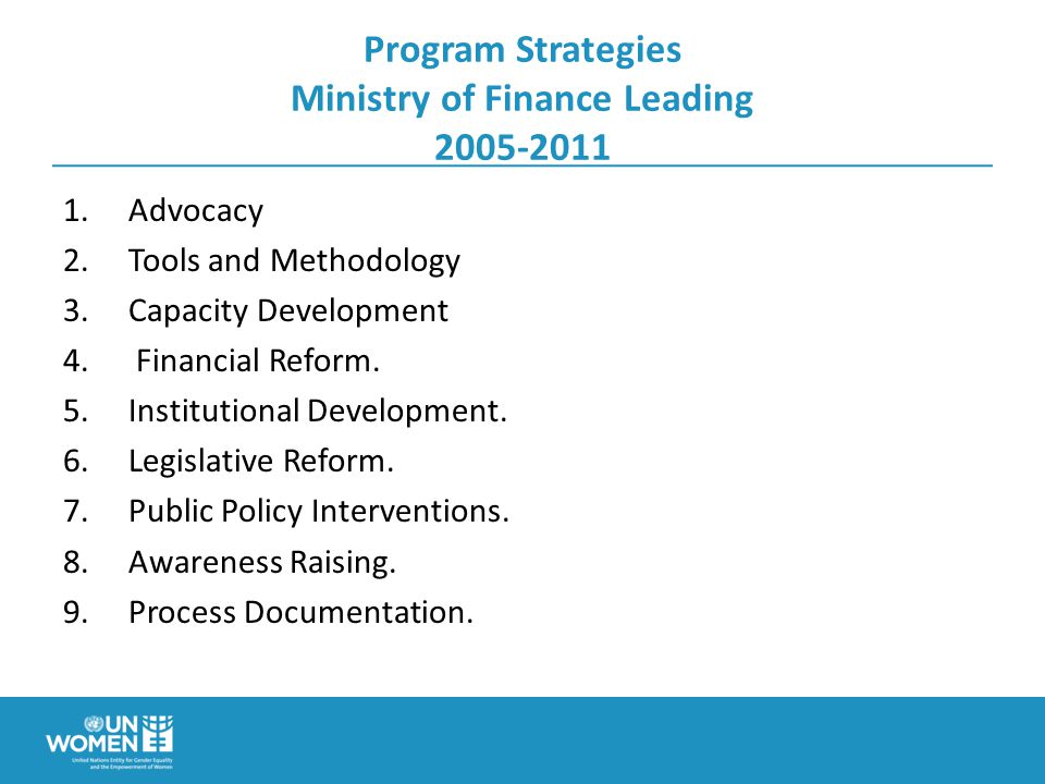 Program Strategies Ministry of Finance Leading Advocacy 2.Tools and Methodology 3.Capacity Development 4.