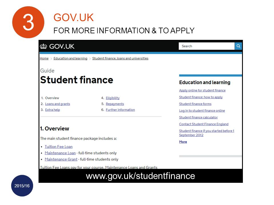 2015/16   GOV.UK FOR MORE INFORMATION & TO APPLY 3