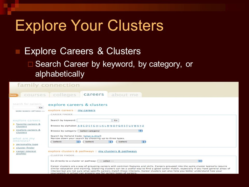 Explore Your Clusters Explore Careers & Clusters  Search Career by keyword, by category, or alphabetically