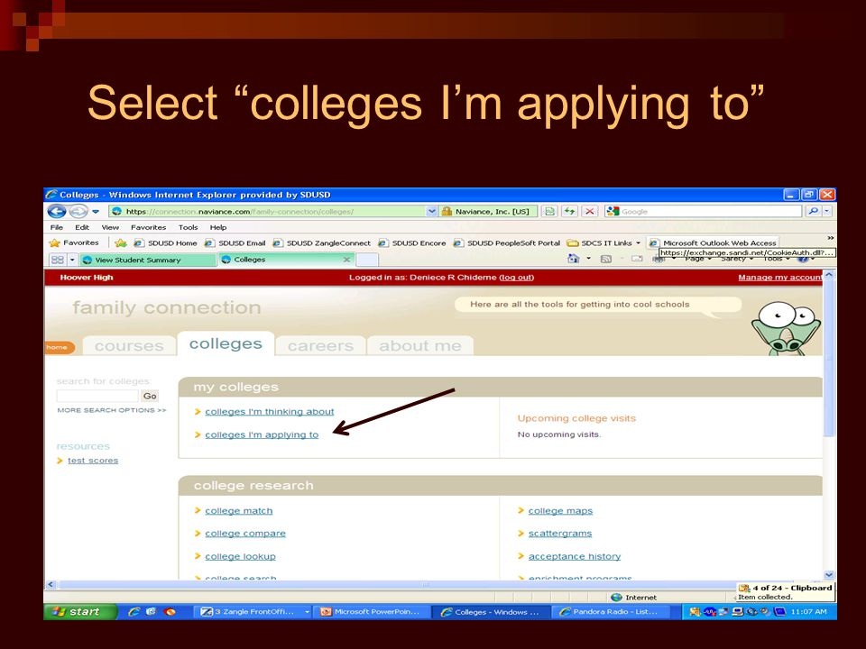 Select colleges I'm applying to