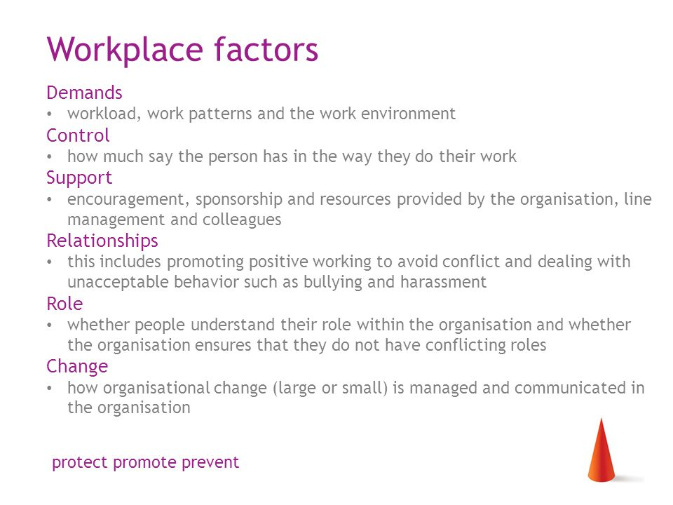 Workplace factors Demands workload, work patterns and the work environment Control how much say the person has in the way they do their work Support encouragement, sponsorship and resources provided by the organisation, line management and colleagues Relationships this includes promoting positive working to avoid conflict and dealing with unacceptable behavior such as bullying and harassment Role whether people understand their role within the organisation and whether the organisation ensures that they do not have conflicting roles Change how organisational change (large or small) is managed and communicated in the organisation