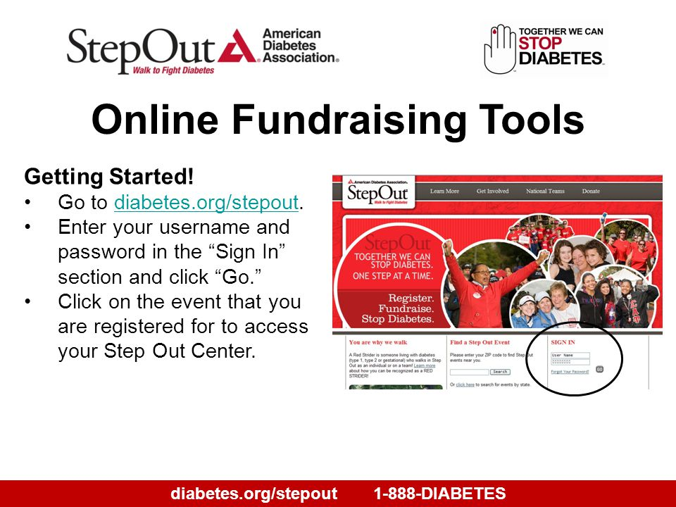diabetes.org/stepout1-888-DIABETES Getting Started.