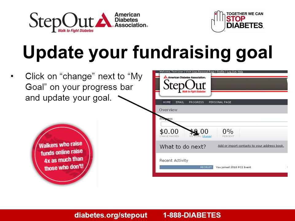 diabetes.org/stepout1-888-DIABETES Click on change next to My Goal on your progress bar and update your goal.