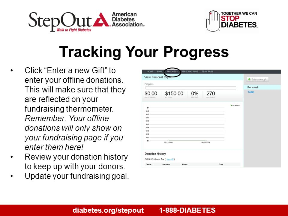 diabetes.org/stepout1-888-DIABETES Tracking Your Progress Click Enter a new Gift to enter your offline donations.