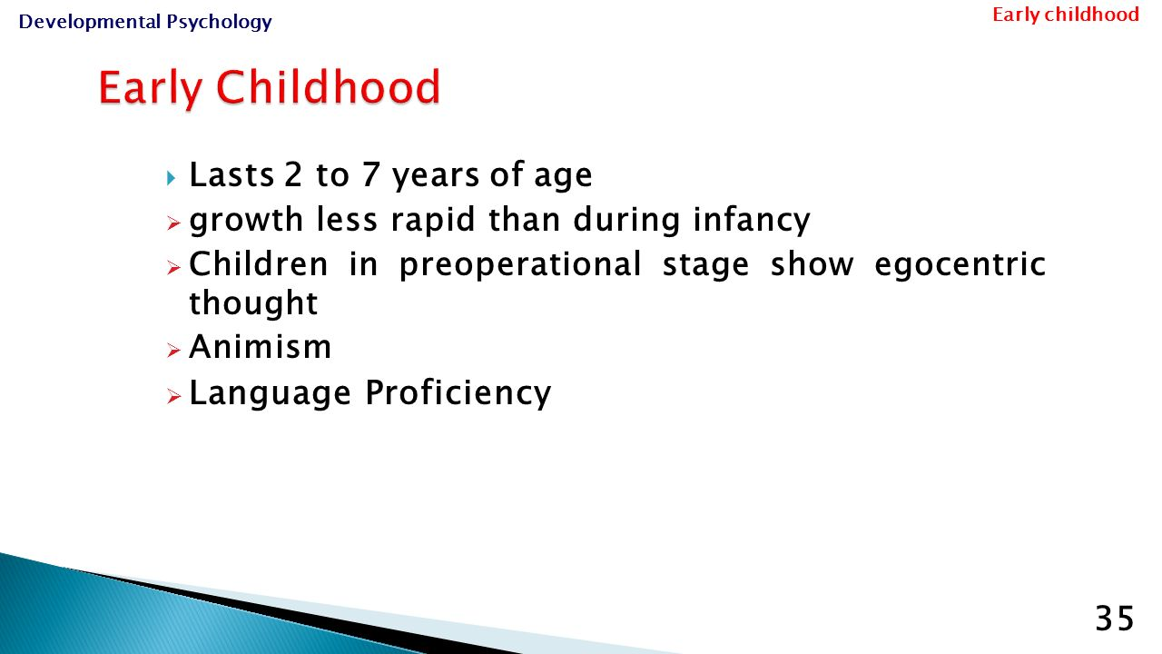 early childhood to middle childhood