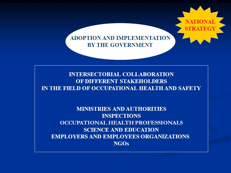 NATIONAL STRATEGY ADOPTION AND IMPLEMENTATION BY THE GOVERNMENT INTERSECTORIAL COLLABORATION OF DIFFERENT STAKEHOLDERS IN THE FIELD OF OCCUPATIONAL HEALTH AND SAFETY MINISTRIES AND AUTHORITIES INSPECTIONS OCCUPATIONAL HEALTH PROFESSIONALS SCIENCE AND EDUCATION EMPLOYERS AND EMPLOYEES ORGANIZATIONS NGOs