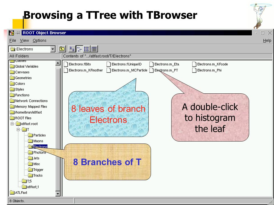 Introduction to ROOT60 8 Branches of T 8 leaves of branch Electrons A double-click to histogram the leaf Browsing a TTree with TBrowser