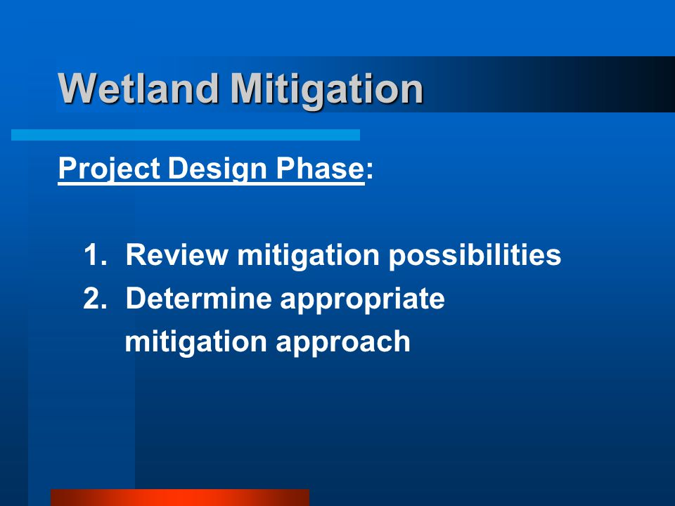 Wetland Mitigation Project Design Phase: 1.Review mitigation possibilities 2.Determine appropriate mitigation approach