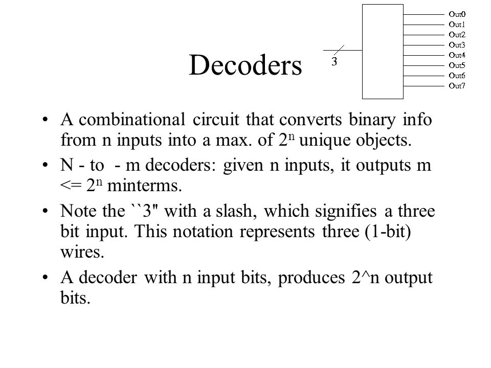 Decoders A combinational circuit that converts binary info from n inputs into a max.
