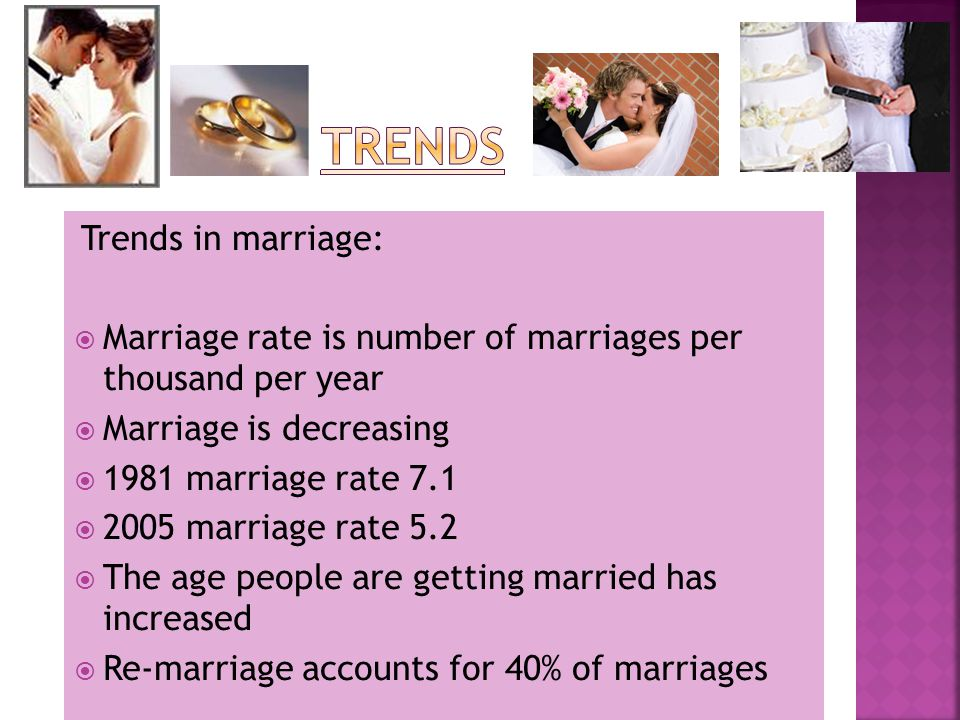 Trends in marriage:  Marriage rate is number of marriages per thousand per year  Marriage is decreasing  1981 marriage rate 7.1  2005 marriage rate 5.2  The age people are getting married has increased  Re-marriage accounts for 40% of marriages