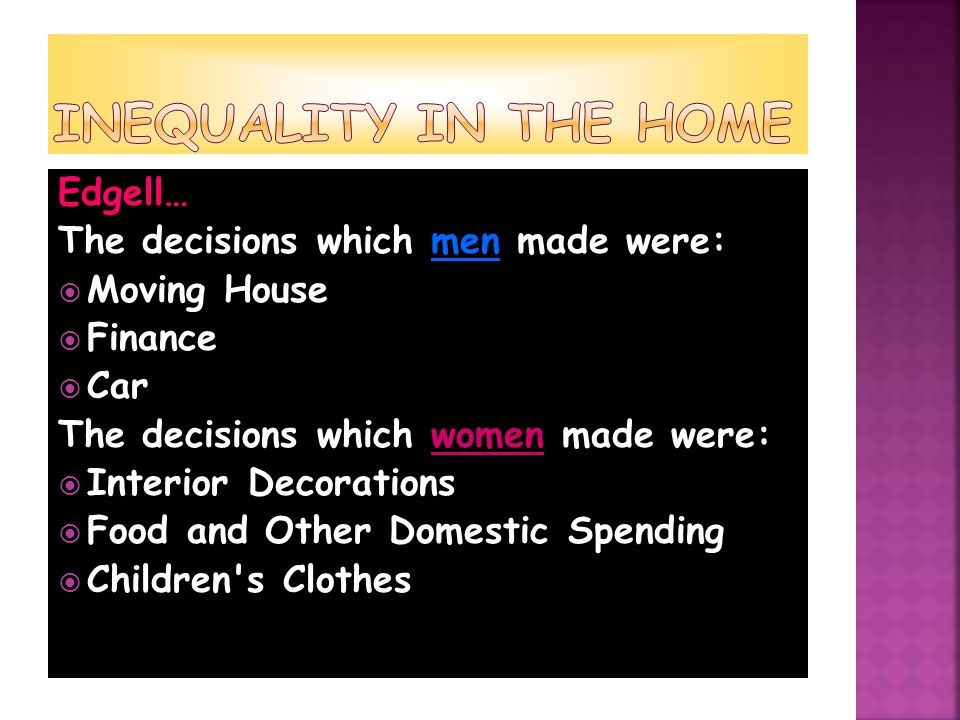 Edgell… The decisions which men made were:  Moving House  Finance  Car The decisions which women made were:  Interior Decorations  Food and Other Domestic Spending  Children s Clothes