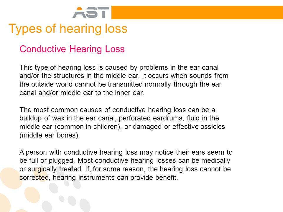Conductive Hearing Loss This type of hearing loss is caused by problems in the ear canal and/or the structures in the middle ear.