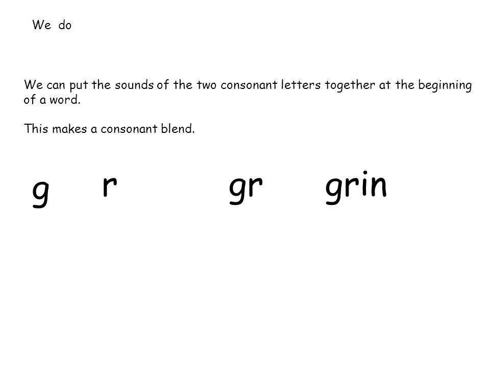 We can put the sounds of the two consonant letters together at the beginning of a word.